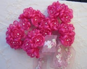 36pc FUCHSIA Wired Satin Organza Rhinestone Seed Beaded Rose Flower Applique Bridal Wedding Bouquet
