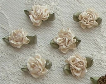 18 pc Champagne Satin Ribbon Fabric Flower Applique Bow Bridal Craft Carnation Cabbage Rose