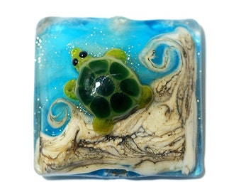 Turtle Cove Pillow Focal 11834704 - Handmade Glass Lampwork Bead