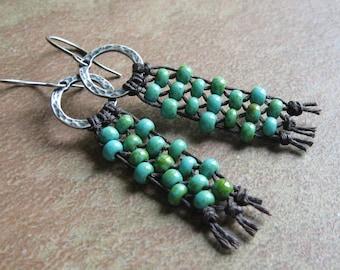 Woven Turquoise Seed Bead Earrings
