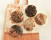 "Fabric Buttons, Retro Moda Brown Beige Lace Floral Flower Fabric Covered Button, Small Brown Floral Fabric Buttons, Flat Back, 0.8"" 5's"