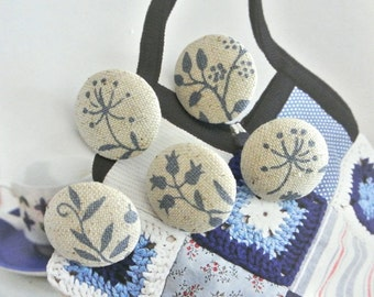 """Handmade Small Beige Blue Leaf Flower Floral Fabric Covered Buttons, Small Floral Magnets, Flat Back  0.8"""" 5's"""