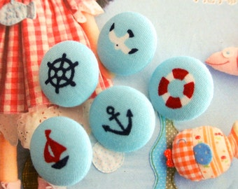 "Handmade Country Small Light Blue White Boat Anchor Nautical Fabric Covered Buttons, Small Nautical Fridge Magnets, Flat Backs, 0.8 "" 5's"