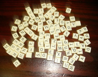 Lot of 100 Plastic Scrabble Tiles from a Travel Scrabble Tile Game