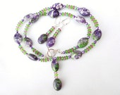 RESERVED for DIANE  Purple Green White Puffed Ovals with Drop and Crystal Discs Set