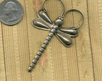 Vintage Sterling Dragonfly American Indian Pin