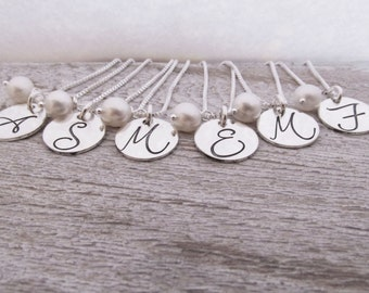 Bridesmaid Jewelry - Bridesmaid Necklaces - Set of 8 - Bridesmaid Initial Necklace - Monogram Necklace
