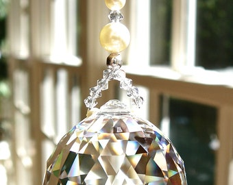 "Crystal Ball Ornament, Window Ornament, Suncatcher with Swarovski Crystals and Pearls, Elegant Sun Catcher, Window Prism - ""PEARL GRANDE"""