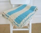 Vintage Blanket Afghan Crochet Knit Aqua Stripes Retro Nursery