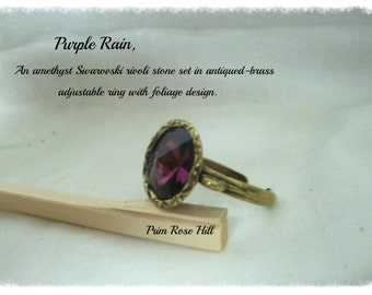 PURPLE RAIN Amethyst Rivoli Adjustable Ring in Antiqued Brass