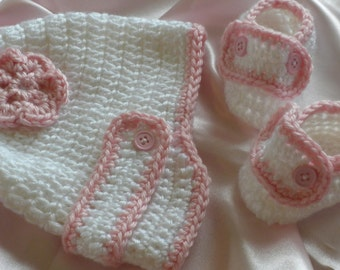 Crochet Baby Hat, Crocheted Baby Booties, Baby Hat with Brim. Baby Hat with Flower, Newborn Baby Girl Hat, Christening Hat, Booties