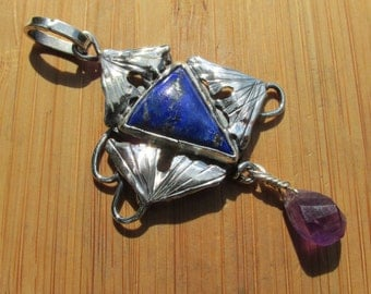 Triple Ginkgo and Lapis and Amethyst  Pendant