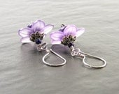 Purple Flower Earrings, Violet Blooms Handmade Earrings, SRA Lampwork Glass & Sterling Silver