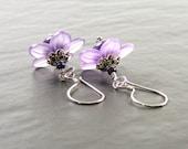 Purple Flower Earrings, Violet Blooms Handmade Earrings, SRA Lampwork Glass & Sterling Silver