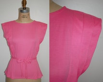 Pink T Shirt Small.  Vintage 80s Cap Sleeve Pleated Detail T Size 4 / 6  Never Worn.  New with Tags