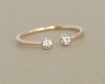 gold dual birthstone ring unique diamond engagement ring solid 14k gold gemstone couples - Birthstone Wedding Rings