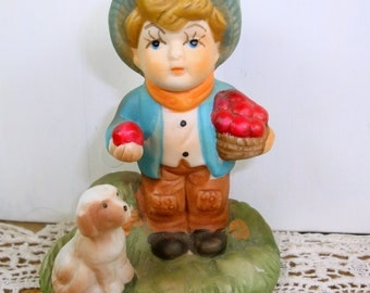 Ceramic Bisque Figurine Little Boy With Basket of Apples and Puppy, Child's Room Decor  (541-14)