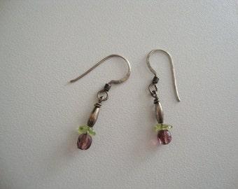 Vintage earrings Vintage jewelry Vintage silver earrings dangle earrings peridot earrings purple earrings green earrings bead earrings