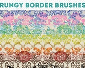 photoshop brushes - grungy border brushes 1 - for photography or scrapbooking - commercial use allowed - automatic download