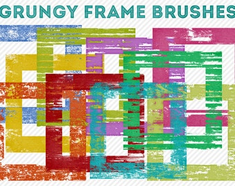 photoshop brushes - square grungy frames