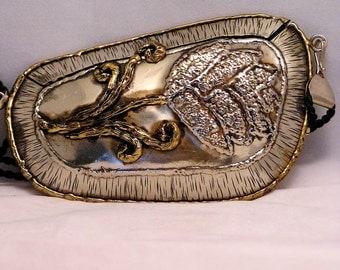 Vintage Brutalist Purse Soldered Silver and Brass Colored Metal Signed