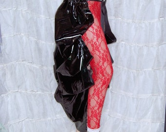 Shimmery Black PVC Pleather Bustle Wrap MTCoffinz - All Adult Sizes - Ready to Ship