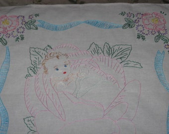 Baby in a Rose, Large Hand-embroidered Quilt Block