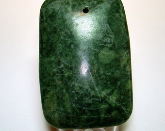 Green Marble Puffed Rectangle Focal Stone Bead (Qty 1) - B2239