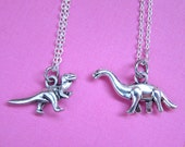Rawr Dinosaur Silver BFF Necklace - Brontosaurus, Tyrannosaurus, T-Rex, Best Friends, Friendship necklace (T5)