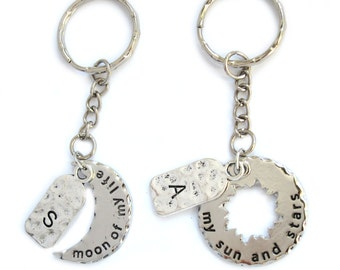 My Sun and Stars, Moon of My Life - Game of Throne inspired Couples Keychain - Customizable Personalized with Initial Name