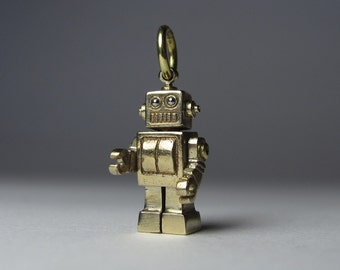 STEAMPUNK robot MICROBOT solid bronze expertly crafted on long antiqued brass ball chain