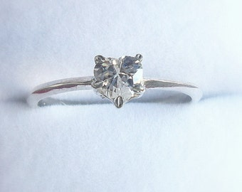 Small Heart crystal starling silver ring, love, engagement, woman, teens, stone, crysta, color, small, sweet, gift, pink