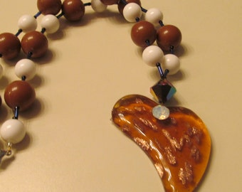 Brown white twisted heart necklace