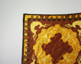 vintage 70s Stags Deer Abstract Golden Rod & Chocolate Brown Womens Scarf