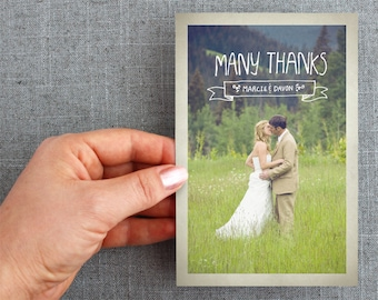 "50+ Wedding Thank you Postcards, card, hand lettering, rustic ""Marci Style"""