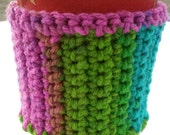 Crocheted Multicolored Coffee Cozy with Wooden Button
