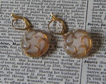 Swirly Champagne Plastic Dangle Earrings