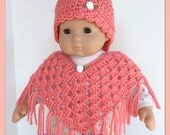 Doll Clothes Made To Fit Bitty Baby, So Sweet Poncho and Hat Set, Crochet, STRAWBERRY