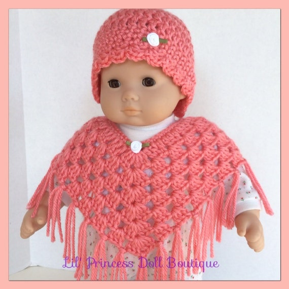 Bitty Baby Doll Clothes So Sweet Poncho and Hat Set Crochet