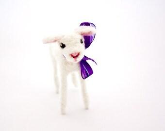 White needle felted miniature lamb figurine, Sheep ornament, Easter decoration