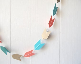 Arrow Garland in Bright Blue, Coral and Gold Leaf