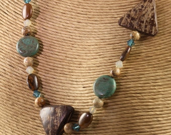 Gemstone Necklace Blue Sky Jasper Rustic Woodland Coconut Shell Copper Toggle Clasp