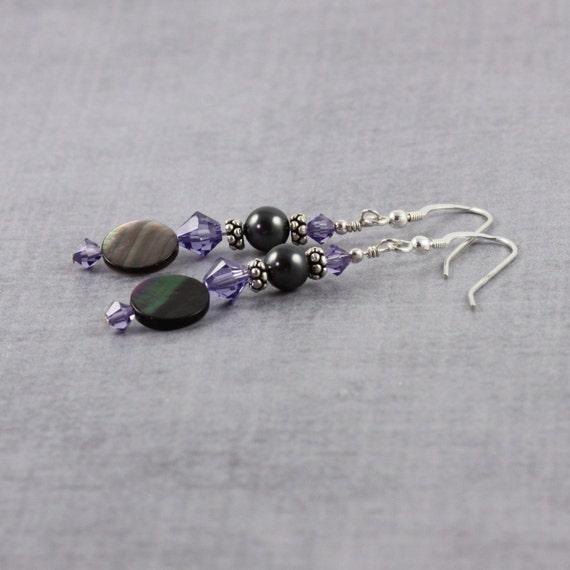 Seashell Earrings Black Lip Shell Jewelry Purple Crystal Jewelry Black Pearl Earrings Natural Seashell Jewelry Summer Fashion Beach Jewelry