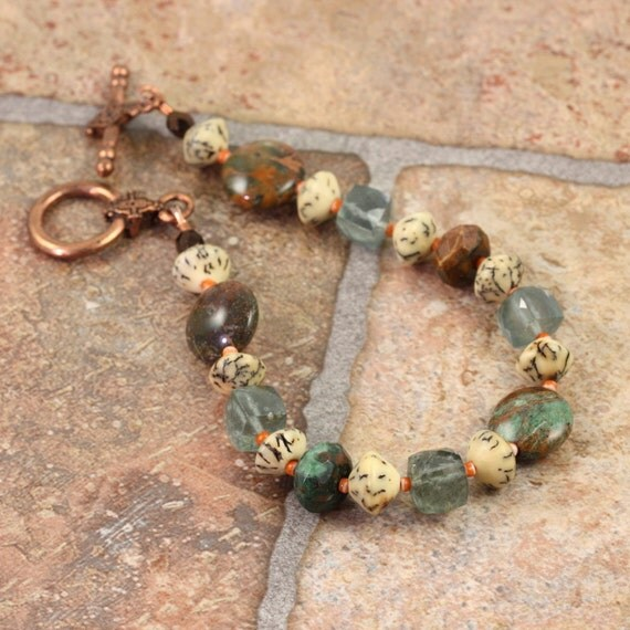 Moss Aquamarine Bracelet Green Opal Gemstone Latte Brown Rustic Copper Mothers Day for Mom Beaded Bracelet