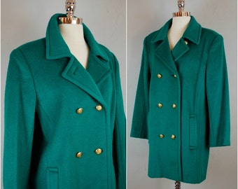Vintage ALBERT NIPON  wool coat / Green double breasted coat