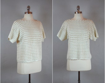 Vintage CROCHET sweater / white boatneck short sleeve sweater