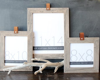 11x14 leather collection picture frame (natural sail rope finish) . 11x14 handmade picture frame