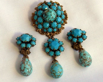 Vintage Murano Glass Turquoise Jewelry Set Brooch Earrings Italian Victorian Style