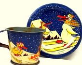20s Tin Tea Toy Skiing DUCKS, Art Deco French BIRDS, Scarce