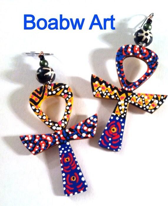 Boabw Culture Ankh Earrings